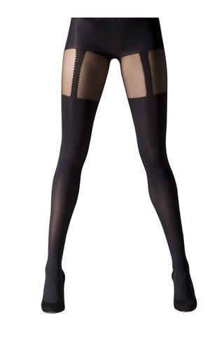 Černé punčochové kalhoty s pruhy Gipsy