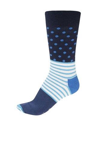 Tyrkysovo-modré unisex vzorované ponožky Happy Socks Stripe Dot