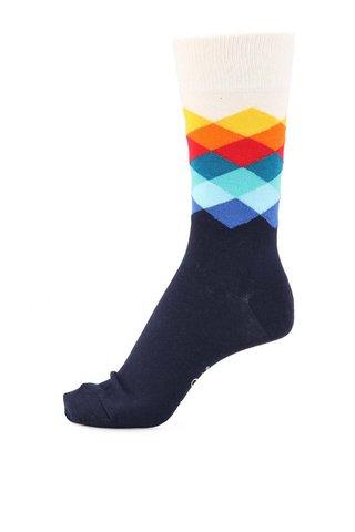 Bílo-modré unisex ponožky s barevnými kostičkami Happy Socks Faded Diamond