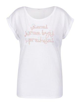 """""""Dobré"""" bílé dámské tričko s potiskem pro OPU a UNHCR"""