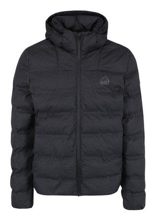 Tmavě šedá pánská zimní prošívaná bunda s kapucí Superdry Echo