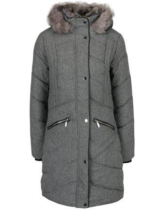 Sivý melírovaný prešívaný kabát s umelým kožúškom Dorothy Perkins thumbnail