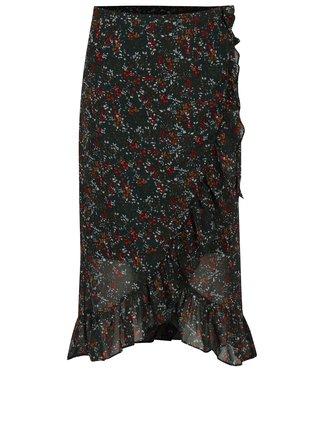 Zelená květovaná zavinovací sukně s volány VERO MODA Camille