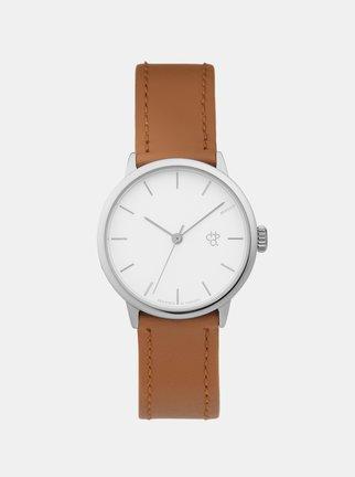 9040b50d376 Dámske hodinky s hnedým remienkom z vegánskej kože CHPO Khorshid Mini  Silver thumbnail