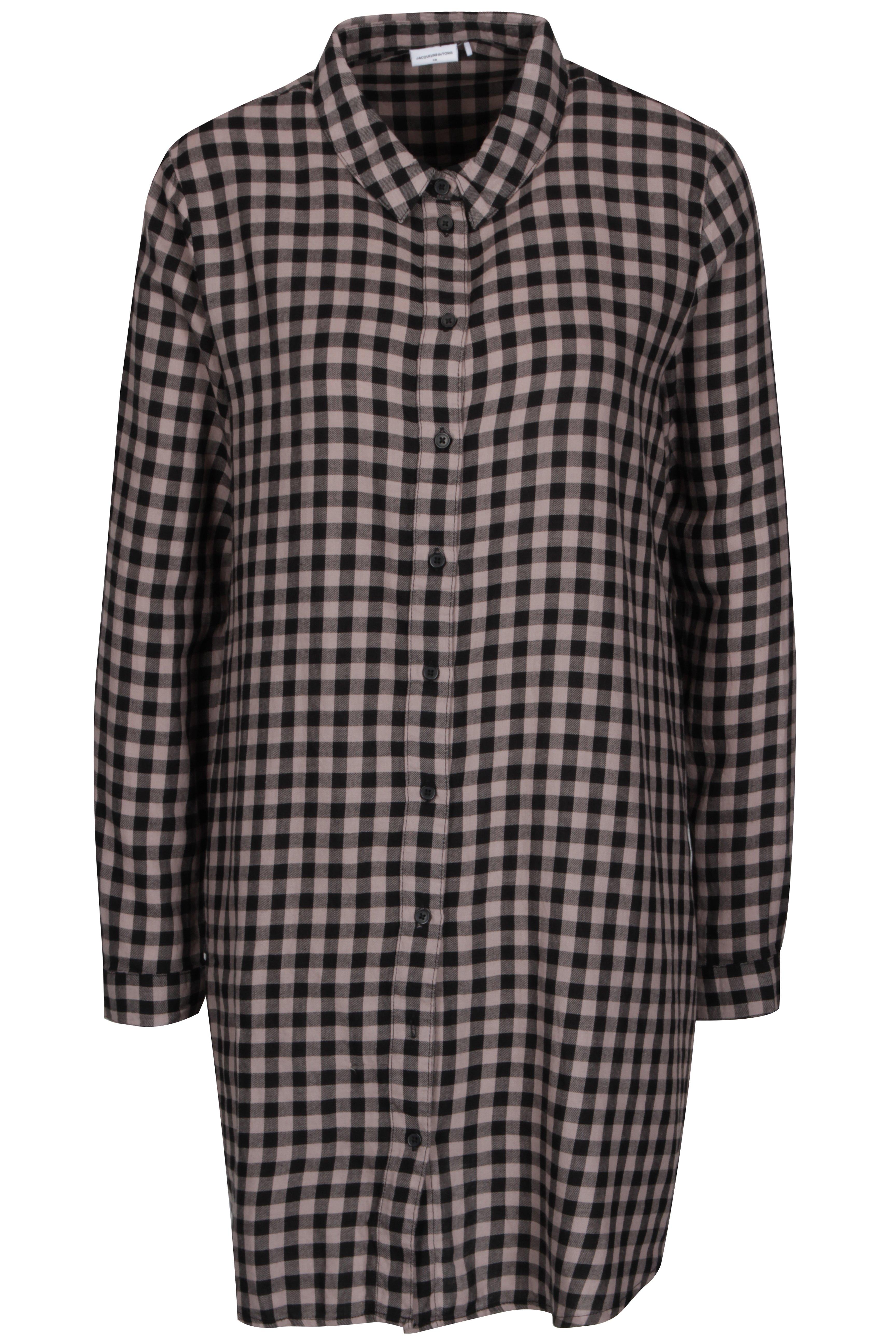 Růžovo-černé kostkované košilovéšaty Jacqueline de Yong Ally