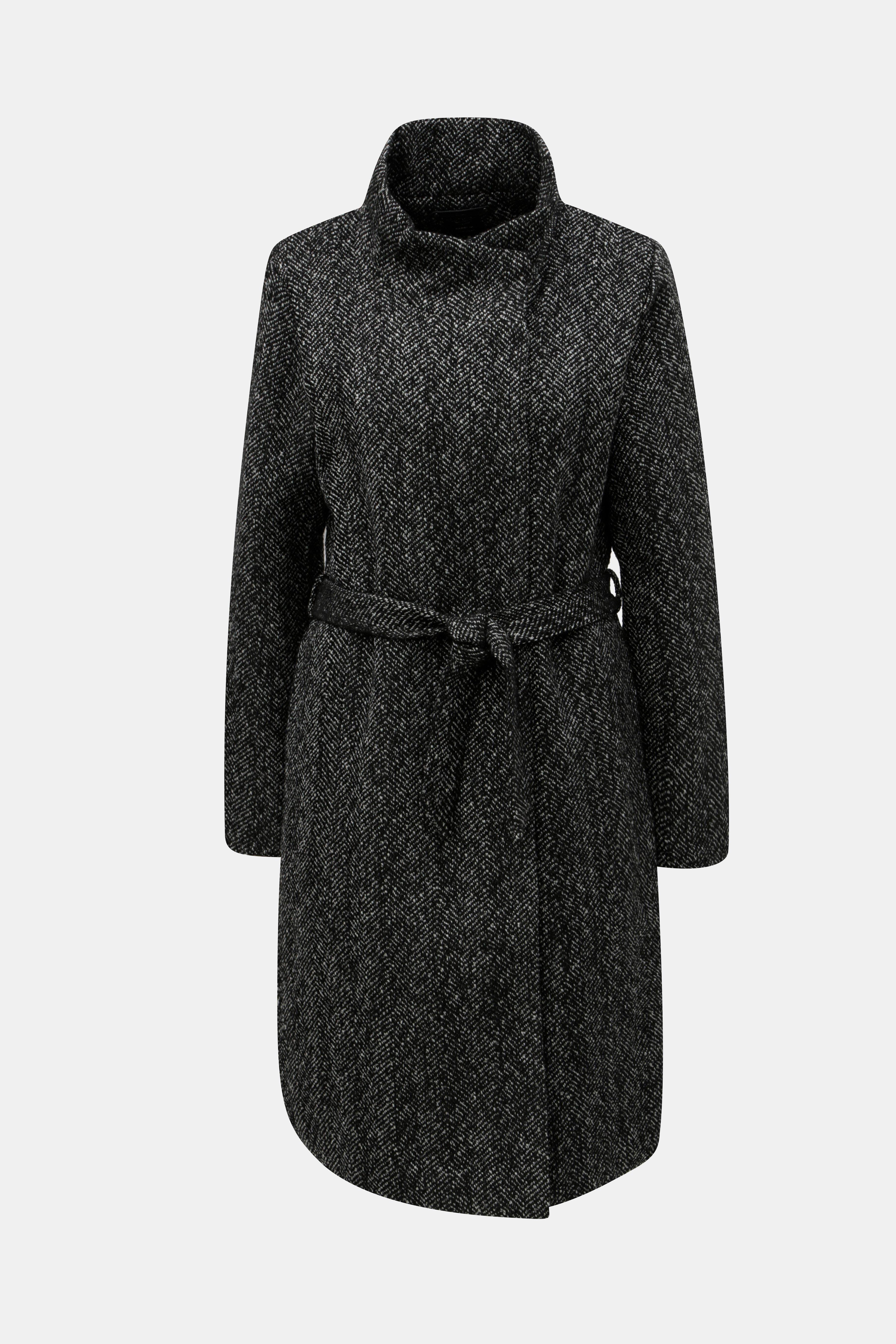 a42a8defc Čierny melírovaný kabát s prímesou vlny ONLY Cindy