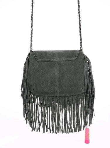 Tmavozelená menšia semišová kabelka so strapcami Pieces Ruthi