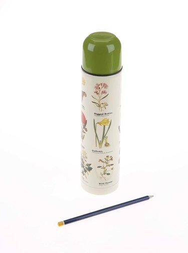Bílá termoska s potiskem květin Gift Republic