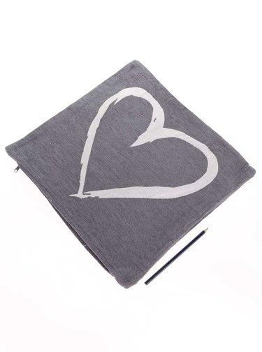 Krémovo-sivý obliečka na vankúš so srdcom Dakls