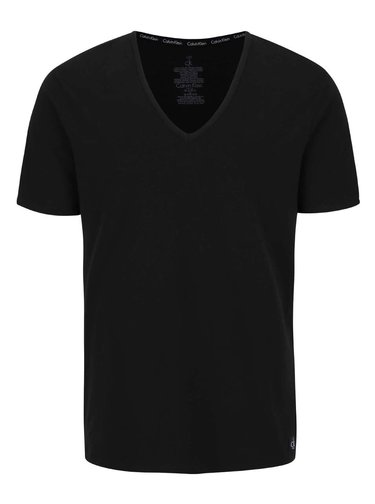 Sada dvou pánských trik v černé barvě s véčkovým výstřihem pod košili Calvin Klein Underwear