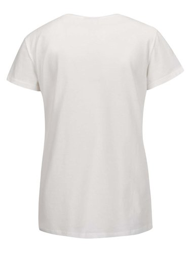 Krémové tričko s krátkým rukávem a flitry VERO MODA Coffee