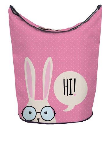Krémovo-růžový koš na prádlo s potiskem králíka Butter Kings