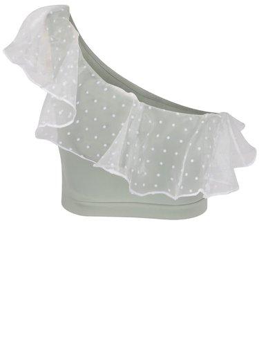 Krémovo-zelený puntíkovaný top s volánem Miss Selfridge Petites