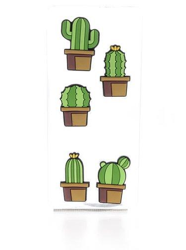 Sada pěti zelených upínáčků ve tvaru kaktusu Mustard