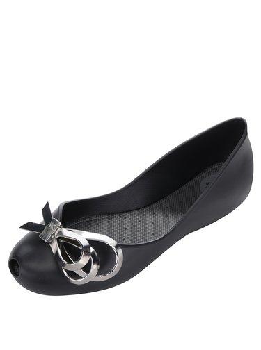 Čierne baleríny s detailom v striebornej farbe Zaxy Luxury