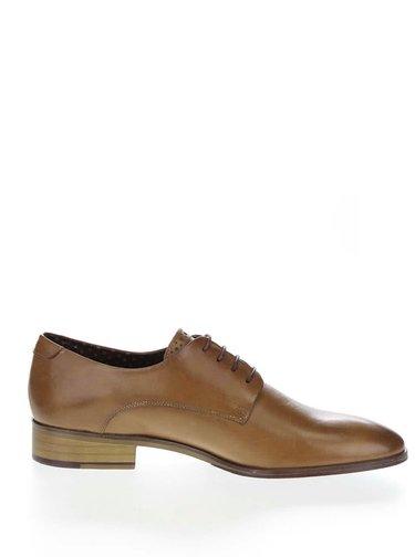 Pantofi maro deschis London Brogues Wister Derby din piele
