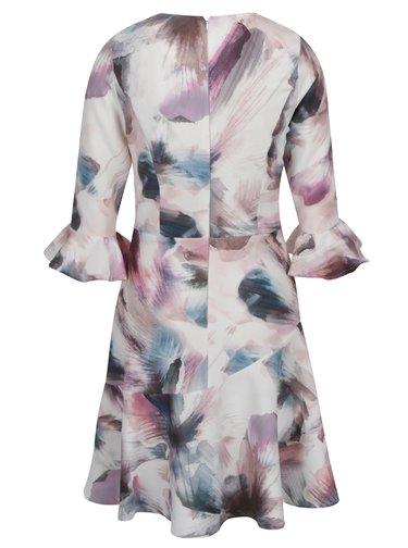 Ružovo-krémové vzorované šaty s volánmi na rukávoch Little Mistress