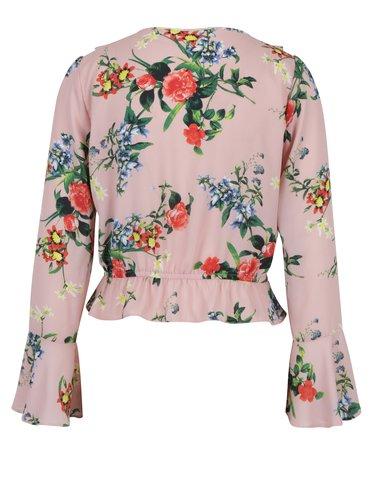 Svetloružová kvetovaná blúzka so zvonovým rukávom Miss Selfridge