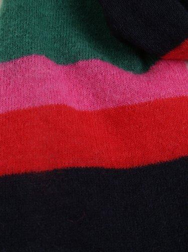 Růžovo-zelená dámská vlněná pruhovaná šála GANT