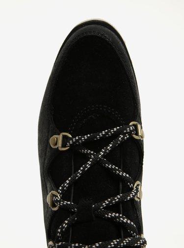 Černé dámské kotníkové kožené voděodolné zimní boty SOREL