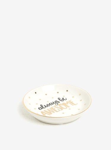 Suport din portelan cu inscriptie pentru depozitarea bijuteriilor - Sass & Belle Always Be Awesome