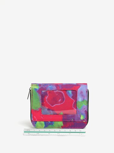 Portofel mov cu print abstract si compartimentare multipla pentru femei - NUGGET Leticia