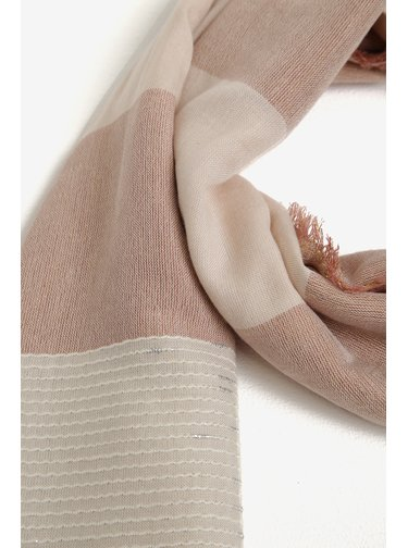 Ružovo-béžový pruhovaný šál Pieces Alina