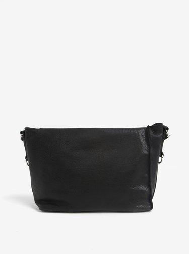 Čierna kožená crossbody kabelka ELEGA Klopnovka