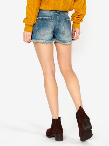 Pantaloni scurti albastri din denim cu franjuri MISSGUIDED
