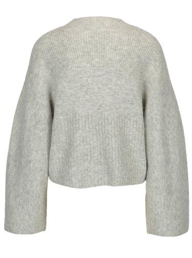 Světle šedý žíhaný svetr s korálky ve tvaru perliček Miss Selfridge
