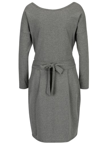 Šedé pouzdrové šaty s kapsami a dlouhým rukávem ZOOT