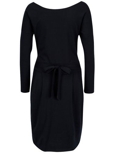 Tmavě modré pouzdrové šaty s kapsami a dlouhým rukávem ZOOT
