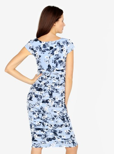 Svetlomodré kvetované šaty s riasením M&Co