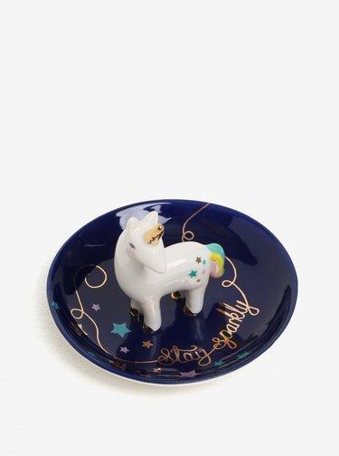 Tmavomodrá miska na šperky s motívom jednorožca Disaster Candy Pop