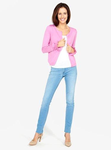 Růžový kardigan s volány na rukávech VERO MODA Kirstin