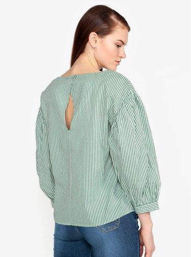 Bluza verde & alb cu maneci balon si print in dungi - VERO MODA Minnie