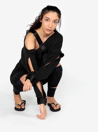 Černá oversize asymetrická krátká mikina s průstřihy na rukávech Ivy Park