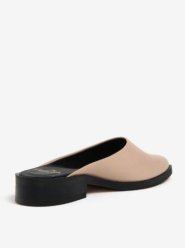 Papuci bej cu toc mic din piele pentru femei - Royal RepubliQ