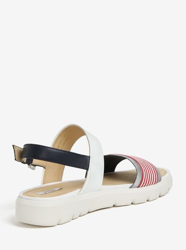 Sandale cu platforma crem & rosu si bareta cu aspect lucios - Geox Amalitha