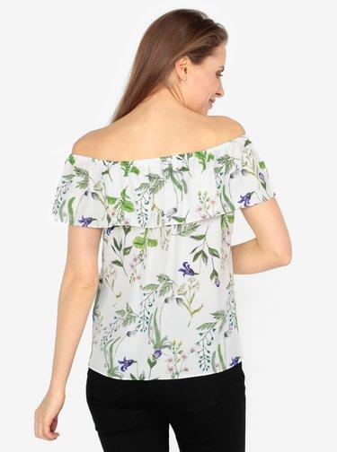 Zeleno-krémová vzorovaná blúzka s odhalenými ramenami M&Co