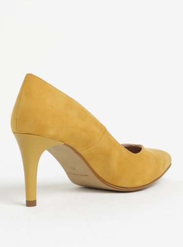 Pantofi galben mustar cu varf ascutit si toc inalt - OJJU