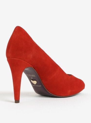 Pantofi peep toe rosii din piele intoarsa Tamaris