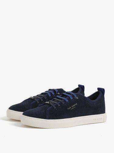 Pantofi sport bleumarin din piele intoarsa cu perforatii pentru barbati - Ted Baker Kaliix