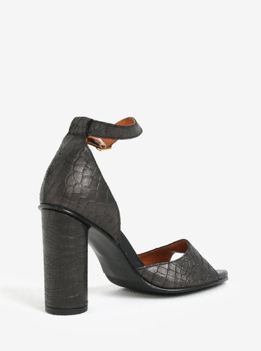 Černé kožené sandálky s hadím vzorem Selected Femme You