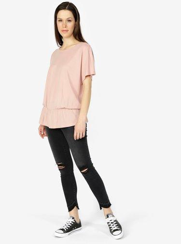 Starorůžové tričko s gumou v pase VERO MODA Costa