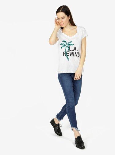 Tricou alb cu print si aplicatie din paiete - VERO MODA Bling