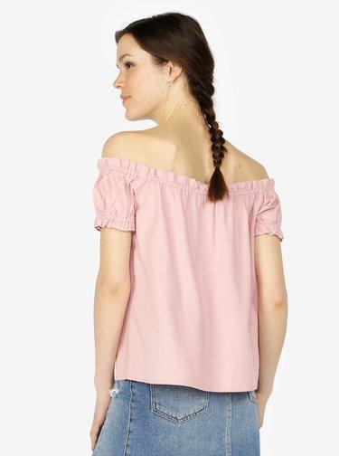 Světle růžová lněná halenka s odhalenými rameny VERO MODA Asta