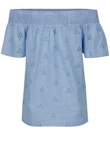 Modrá blúzka s odhalenými ramenami VERO MODA Romantic