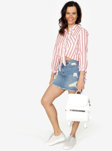 Camasa cropped alba cu dungi rosii si nod decorativ - ONLY Ameli