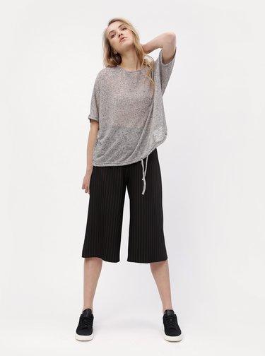 Sivé melírované oversize tričko VERO MODA Pia